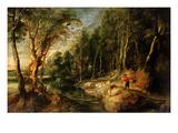 A Shepherd with His Flock in a Woody Landscape  C1615-22 (Oil on Oak)