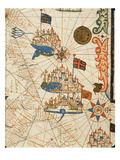 Marseille  Genoa and Venice  from a Nautical Atlas  1646 (Ink on Vellum) (Detail from 330937)