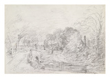 A Bridge Near Salisbury Court  C1829 (Graphite on Paper)