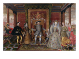 An Allegory of the Tudor Succession: the Family of Henry Viii  C1589-95 (Oil on Panel)