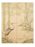 Bamboo and Crane  Edo Period (W/C on Panel)
