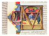 Historiated Initial 'M' Depicting a Metalworker  from the 'Naturalis Historia' by Pliny the Elder