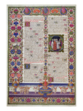 Illuminated Page from the Book of Psalms  from the Borso D'Este Bible Vol 1 (Vellum)