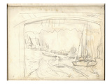 On the Boat Studio  Facing the Petit-Gennevilliers (Pencil on Paper)