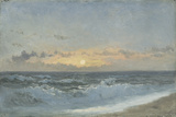Sunset over the Sea  1900 (Oil on Board)