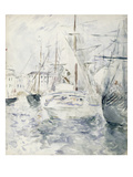 White Boat in the Port  Nice  1881 (W/C on Paper)