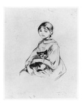 Young Girl with Cat  1889 (Drypoint)