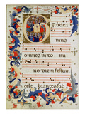 Page of Musical Notation with a Historiated Initial 'G' Depicting a Group of Saints with St Ursula