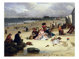 Littlehampton Beach with the Pier  Climping Beyond C1888 (Oil on Panel)