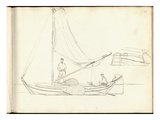 Dutch Boats with Crew (Pencil on Paper)