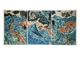 Tametomo's Shipwreck  Pub C1836  (Colour Woodblock Print)
