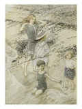 Four Children at the Seashore  1910 (W/C on Paper)