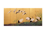 Six-Fold Screen Depicting Reeds and Cranes  Edo Period  Japanese  19th Century