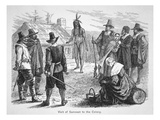 Samoset  Chief of the Pemaquids Visits the Pilgrim Fathers in 1621 (Litho)