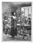 Anne Hutchinson on Trial for Offending the Puritan Clergy in Massachusetts (Litho)