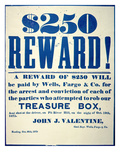 Reward Poster for the Attempted Robbery of the Wells Fargo 'Treasure Box'  Issued 20th October 1875