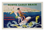 Poster Advertising Monte Carlo Beach  Printed by Draeger  Paris  C1932 (Colour Litho)