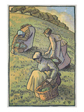 Women Gathering Mushrooms  from 'Travaux Des Champs'  Engraved by Lucien Pissarro (1863-1944)