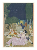On the Lawn  Illustration for 'Fetes Galantes' by Paul Verlaine (1844-96) 1923 (Pochoir Print)