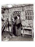 Beatrix Dussane in a Radio Recording Studio  C1936 (B/W Photo)