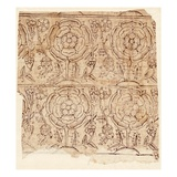 Lining Paper with a Tudor Rose Pattern  C1550 (Woodblock Print)