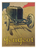 Poster Advertising a Peugeot Racing Car  C1918 (Colour Litho)