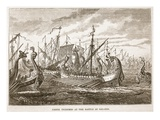Greek Triremes at the Battle of Salamis (Litho)