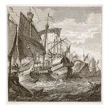 The Naval Battle Off Cape Pelorus (Litho)
