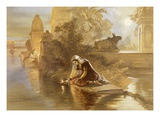 Indian Woman Floating Lamps on the Ganges  from 'India Ancient and Modern'  1867 (Colour Litho)