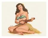 Pin Up Girl Playing Ukelele c.1951 Giclée par Al Moore