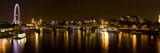 View of Thames River from Waterloo Bridge at Night  London  England