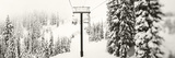 Chair Lift and Snowy Evergreen Trees at Stevens Pass, Washington State, USA Papier Photo par Panoramic Images
