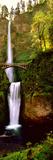 Footbridge in Front of a Waterfall  Multnomah Falls  Columbia River Gorge  Multnomah County  Ore
