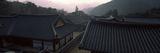 Buddhist Temple with Mountain Range in the Background  Kayasan Mountains  Haeinsa Temple  Gyeong