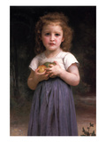 Little Girl Holding Apples in Her Hands