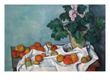 Still Life with Apples and a Pot of Primroses Reproduction d'art par Paul Cézanne