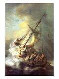 Christ in the Storm on the Lake of Galilea Reproduction d'art par Rembrandt Van Rijn