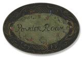 Powder Room Black/Green Floral Oval