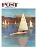 """Iceboating in Connecticut"" Saturday Evening Post Cover  November 28  1959"