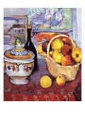 Apples Bottle and Tureen Reproduction d'art par Paul Cézanne