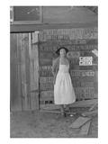 Farm Woman Beside Her Barn Door