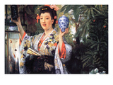 A Young Woman Holds Japanese Goods