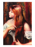 Combing Girl Reproduction d'art par Pierre-Auguste Renoir