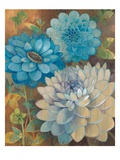 Pretty Blue Dahlias 1 Reproduction d'art par Vera Hills