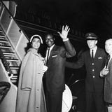 Nat King Cole and His Wife Maria Cole Wave to Bystanders  March 1959