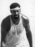 Wilt Chamberlain of the Los Angeles Lakers Tries His Hand at Volleyball  1970