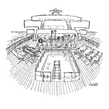Noah's ark as cruise ship; animals  two by two  seated in deck chairs arou… - New Yorker Cartoon