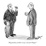 """""""My grandson  needless to say  is also pro-Reagan"""" - New Yorker Cartoon"""