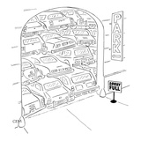 "Parking garage has sign ""Sorry Full"" and the cars are stacked on top of ea… - New Yorker Cartoon"