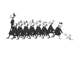 Line of school girls in black wearing gas masks One stops to touch a flow - New Yorker Cartoon